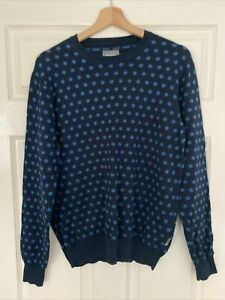 Mens Peter Werth Navy And Blue Spotted Jumper - Medium - Excellent Condition
