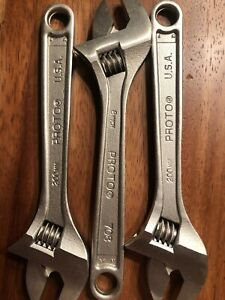 """New 8"""" Stanley PROTO TOOLS 708 Silver 200mm Adjustable Crescent Wrench USA"""