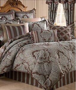 6 Piece Croscill Queen Comforter Set Royalton Ornate Damask Aqua Brown EXCELLENT
