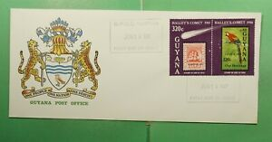 DR WHO 1987 GUYANA FDC SPACE HALLEYS COMET PAIR EXPO OVPT  g13419