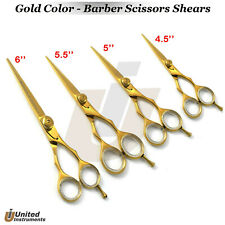 Pro Barber Hair Cutting Shear 6''-5.5''-5''-4'' Salon Hairdressing Gold Scissors