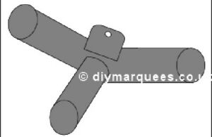 Marquee Knuckle (6m): 140° 3 way curved (connector) with tab for end APEX