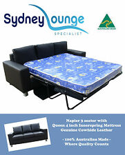 AUSTRALIAN MADE Napier Leather 3 seater Queen  4'' Innerspring Sofa Bed Lounge