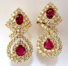 18.96ct GIA Certified natural red ruby diamond dangle earrings 18kt +