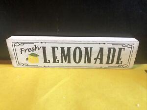 """Vintage Looking Wood  """"Fresh Lemonade"""" Sign - 12"""" Long - Brand New"""