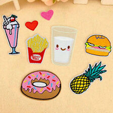 Embroidery Iron On Patch Donuts Fruit Sew 8Pcs Badge Bag Clothes Fabric Applique