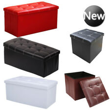 Faux Leather Ottoman Pouffe Storage Toy Box Foot Stools 1&2 Seater Bench Seat UK