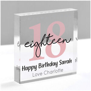 PERSONALISED 16th 18th 21st 30th Birthday Gifts Girls Daughter Her Clear Block