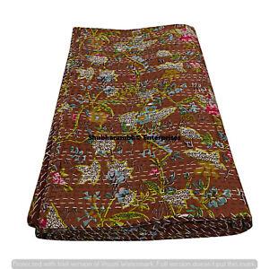 Kantha Brown Paradise Bedspread Indian Bird Cotton Blanket Handmade Quilts Decor