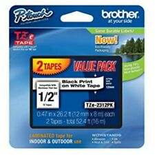 Brother P-Touch TZe Tape Black on White Label Value Pack 2 tapes - Open Box