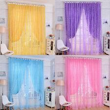 Floral Romantic Tulle Voile Door Window Curtain Drape Panel Sheer Scarf Valances