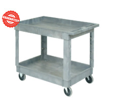 """2 Shelf Tray Industrial Service Utility Cart Plastic Rubber Casters 40""""x26"""" 5"""""""