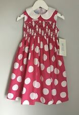 Vive La Fete Girls Pink Smocked Dress BNWT Size 2 Years Spotted Embroidered