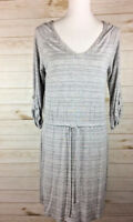 Caslon Women's Gray & White 3/4 sleeves pull string dress Sz S