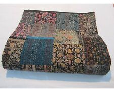 Hand Work Vintage Printed Art Silk Single Bedcover Patchwork Kantha  Quilt Throw