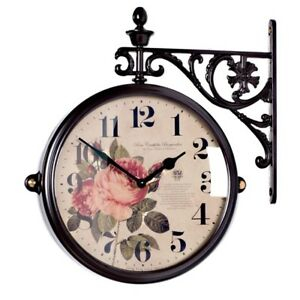 Antique Flower Double Sided Wall Clock Home Decor Station Clock Gift - M195BRF2