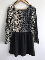 RUSTY Size 14 Leopard Print Black Short Dress V-Back Long Sleeves