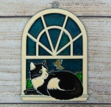 Vintage Suncatcher Cat laying on Window Sill With Butterfly Decoration Ornament