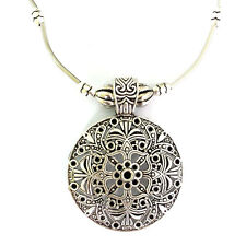 Narlino Bohemian Carved Silver Plated Tibetan Vintage Sweater Pendant Necklace