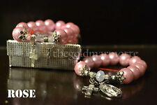 Elegant Majorica Pearl Rosary Bracelet (Rose)