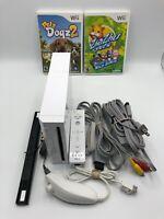 Nintendo Wii Console RVL-001 Bundle, Cables, Controller, Nunchuk & 2 Games