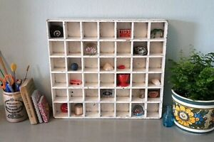 Vintage Pigeon Holes, Letters Tray Shelf, Desk Top Miniatures Storage Display