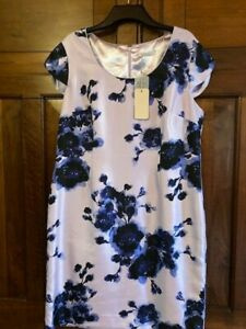 Jacques Vert Dress Lilac Navy Blue Floral Party Cocktail BNWT UK 18 Petite
