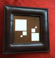 Leather look dark brown photo frame