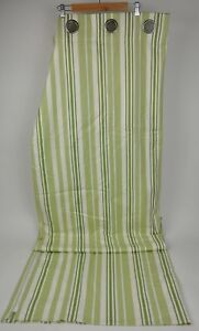 """The POTTERY BARN Green/White STRIPED Curtain PANEL Drapery Grommet 50x84"""""""