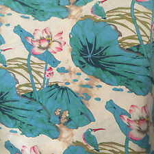 50x145cm Cotton Linen Fashion Girl Dress Fabric Chinese Painting Lotus Blue D1B#