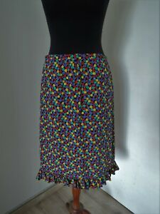 Vintage Celine Paris Made in France dotted spotted multicoloured skirt GB 14 M
