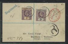 LEEWARD ISLANDS (P2906B) 1903 KE 2D+3D REG FROM ANTIGUA VIA LONDON TO GERMANY