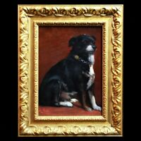 Antique painting oil on canvas portrait of a dog with collar 19th century