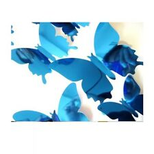 12pcs PVC 3D mirror butterly sticker Art Decor butterflies  wall stickers Blue