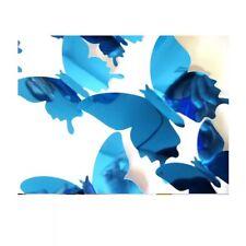 12pcs PVC 3D SPECCHIO Butterly Sticker Arte Decor Farfalle Adesivi Da Parete Blu