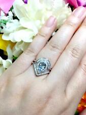 1CT NATURAL AQUAMARINE 2PCS DIAMOND PEAR CUT BRIDAL RING SET 14K WHITE GOLD OVER