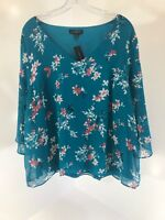 Lane Bryant Womens 3/4 Sleeve Floral Blouse Size 14/16 Color Teal/ Multi NWT