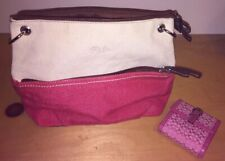 VINTAGE COACH PINK SIGNATURE BUCKLE WALLET + BONUS NEW RELIC CANVAS TOTE PURSE