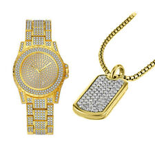 7758-GOLD- Hip Hop Ice Out Men Watch and Bracelet Set in Gift Box