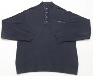 Haggar Blue Pocket Polo Sweater Large Long Sleeve Navy Men's Solid Collared Top
