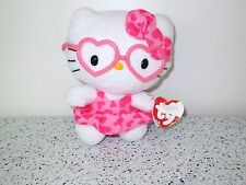 "TY Hello Kitty San Rio Beanie Babies 6"" Heart Glasses Tag with Damage   Lot A41"