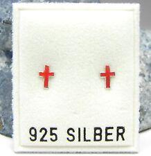 NEU 925 Silber OHRSTECKER mit KREUZ/KREUZE in rot OHRRINGE Earrings