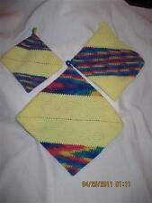 AWESOME THICK Crochet Potholders set of 3....Yellow & Rainbow....Hand made