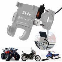 Aluminum Motorcycle Handlebar Cell Phone Mount USB Fast Charger Bike GPS Holder