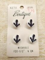 4 VTG PLASTIC ANCHOR BUTTONS ON ORG CARD BOUTIQUE BLACK ON WHITE DISK 2 PIECE