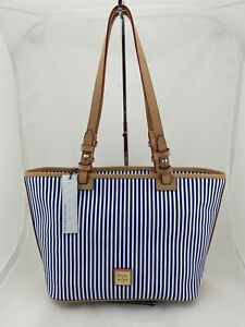 Dooney & Bourke Small Leisure Shopper Tote Purse Navy Blue White Stripe $238 NWT