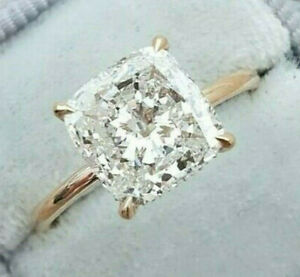 3.23ct Cushion cut Solitaire Diamond Engagement Ring Band Solid 14k Yellow Gold