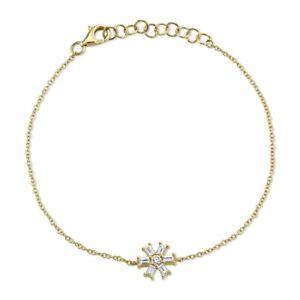 Baguette Diamond Snowflake Bracelet 14K Yellow Gold Womens Natural 0.25TCW Charm