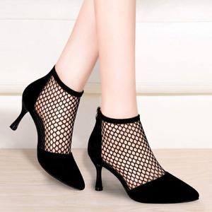 Summer Women Suede Pointed Toe High Heels Breathable Fishnet Back Zip Shoes Fei0
