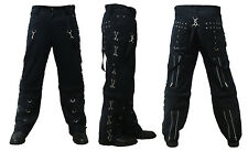 Men's Bondage Pants Baggy Skater Chain Eyelets Trousers Goth Punk Emo Gothic